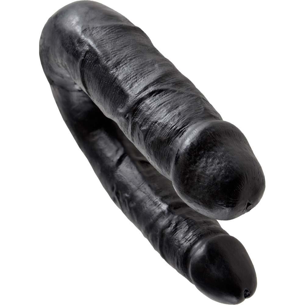King Cock U-Shaped Medium Double Trouble Dildo Black - View #3