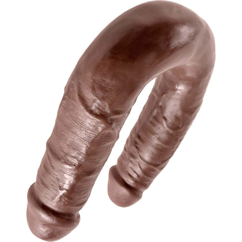King Cock U-Shaped Medium Double Trouble Dildo Brown - View #4