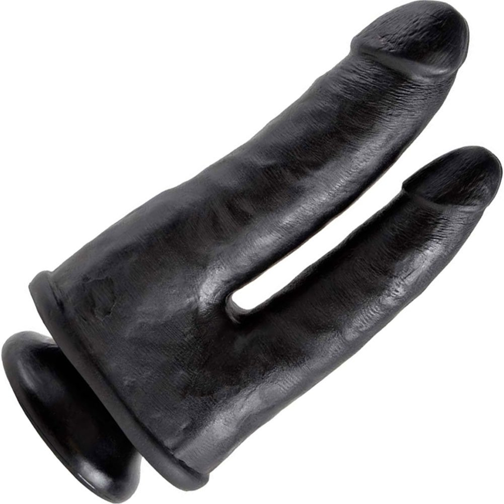 "King Cock Double Penetrator Dildo with Suction Mount Base 8"" Black - View #2"