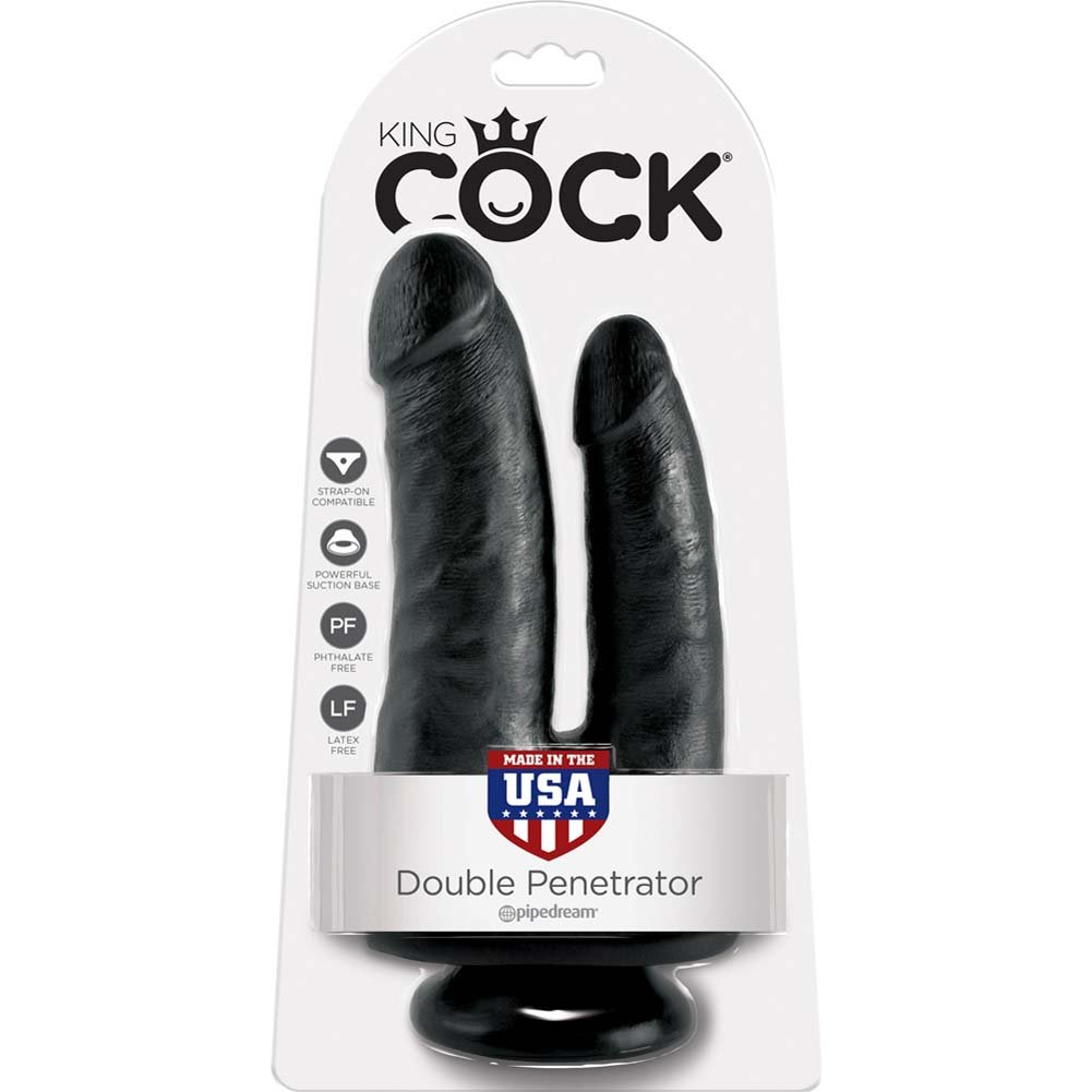 "King Cock Double Penetrator Dildo with Suction Mount Base 8"" Black - View #4"