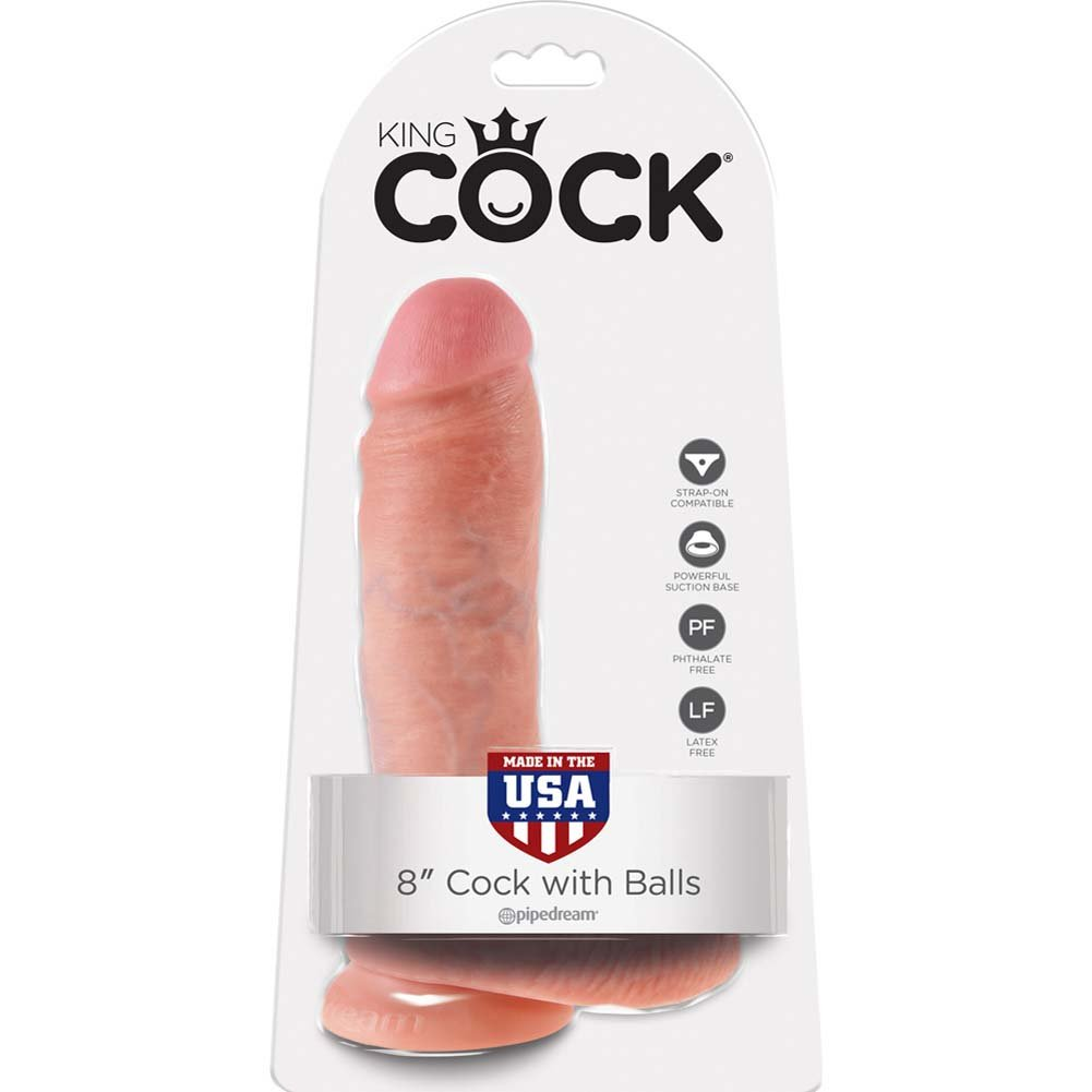 """King Cock 8"""" Cock with Balls Flesh - View #1"""