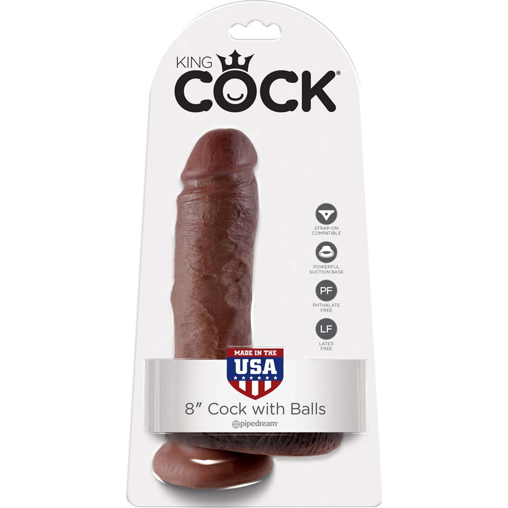 "King Cock 8"" Cock with Balls Brown - View #1"