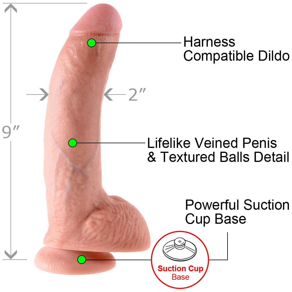 "King Cock Life Like Cock with Balls and Suction Mount Base 9"" Flesh - View #1"