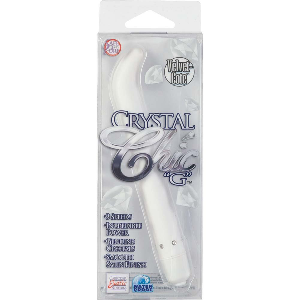 "California Exotics Crystal Chic G Personal Vibrator 5.5"" White - View #4"