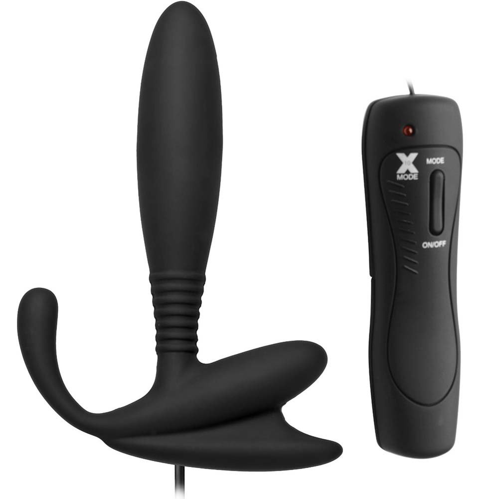 "Master Series Cobra Vibrating Silicone P-Spot Massager 4.75"" Black - View #2"