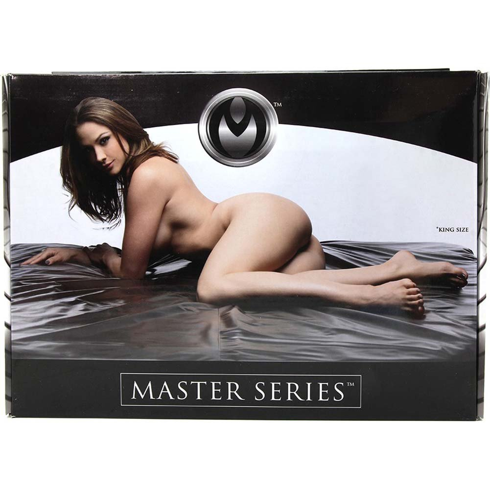Master Series Sex Sheet Fitted Rubberized Bed Sheet King Size Black - View #1