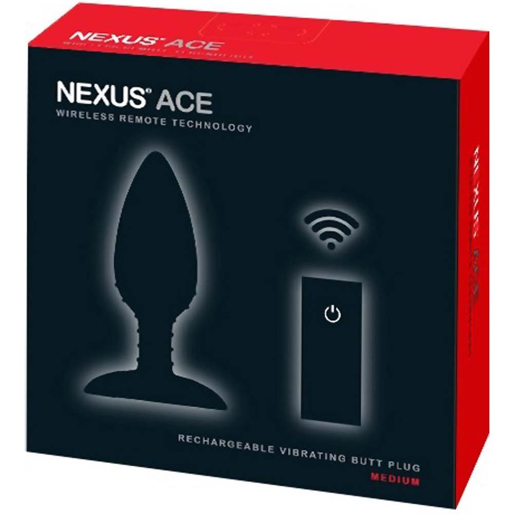 "Nexus Ace Wireless Remote USB Rechargeable Medium Butt Plug 5.5"" Black - View #4"