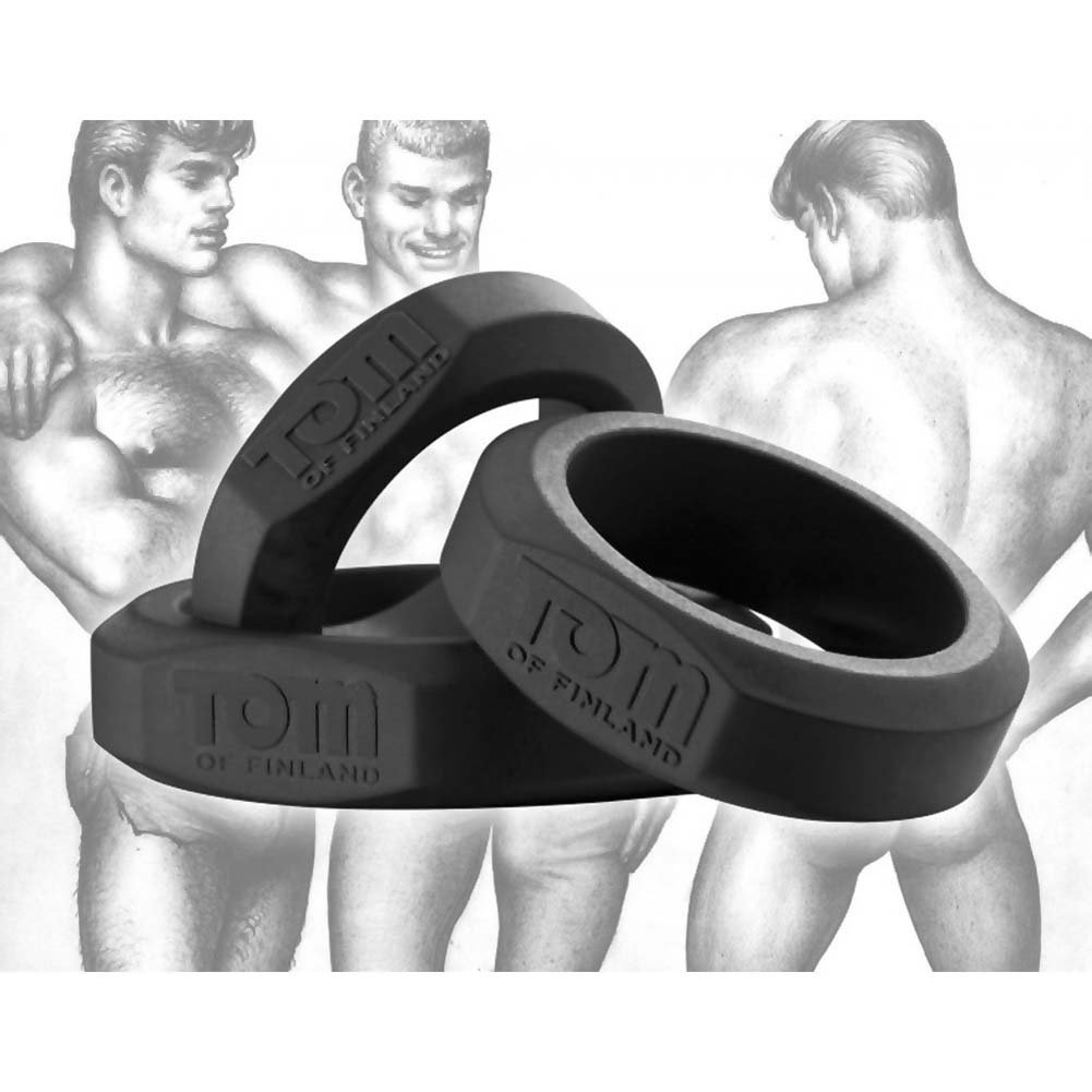 Tom of Finland 3 Piece Silicone Cock Ring Set Black - View #2