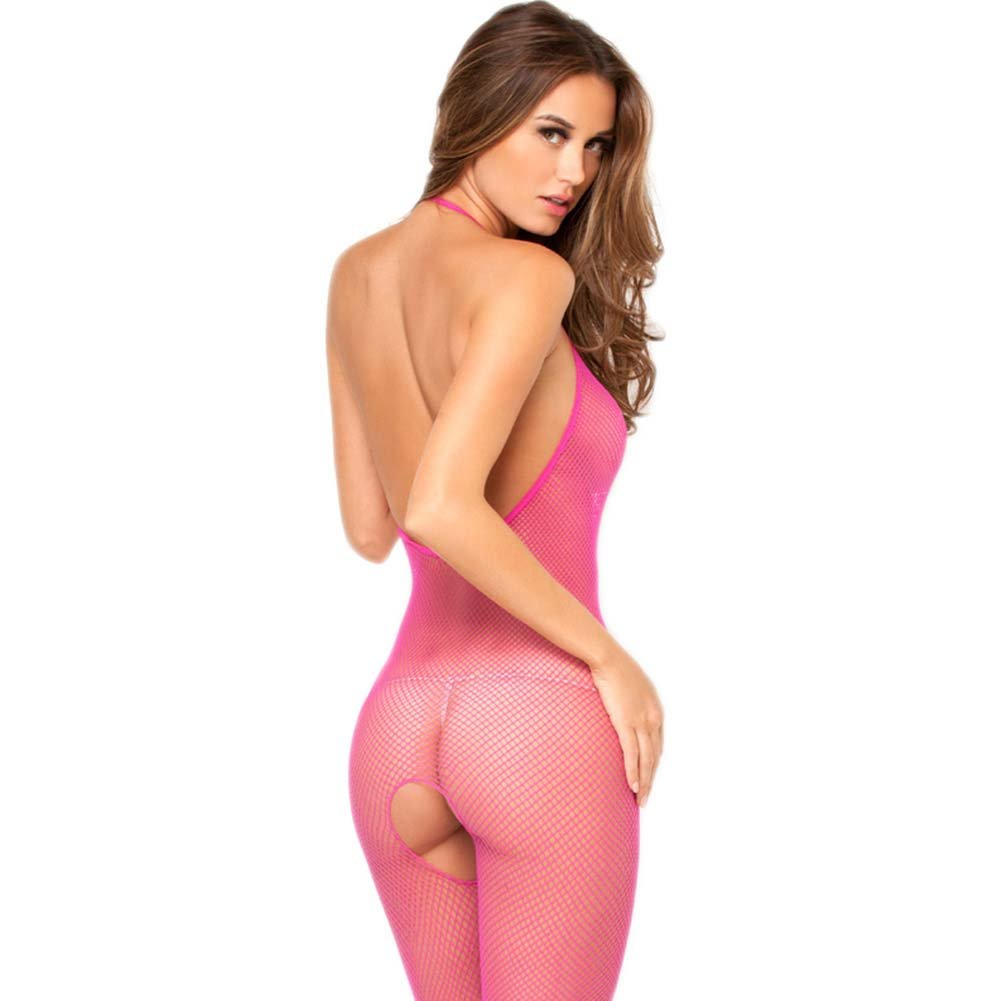 Foxy Low Back Halter Tied Net Bodystocking One Size Hot Pink - View #2