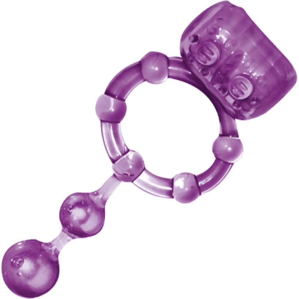 Macho Ultra Erection Keeper Waterproof Vibrating Cockring Purple - View #2