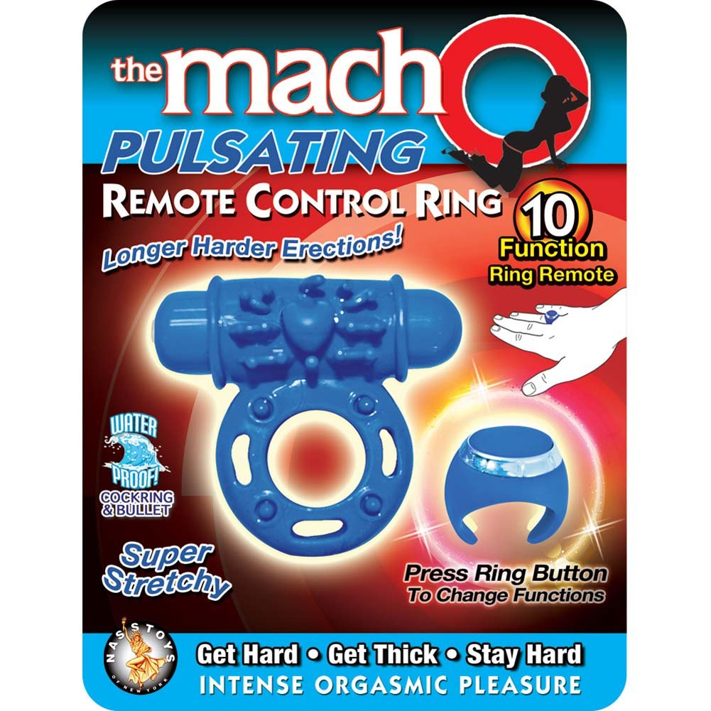 Macho Pulsating Remote Control Ring Blue - View #1