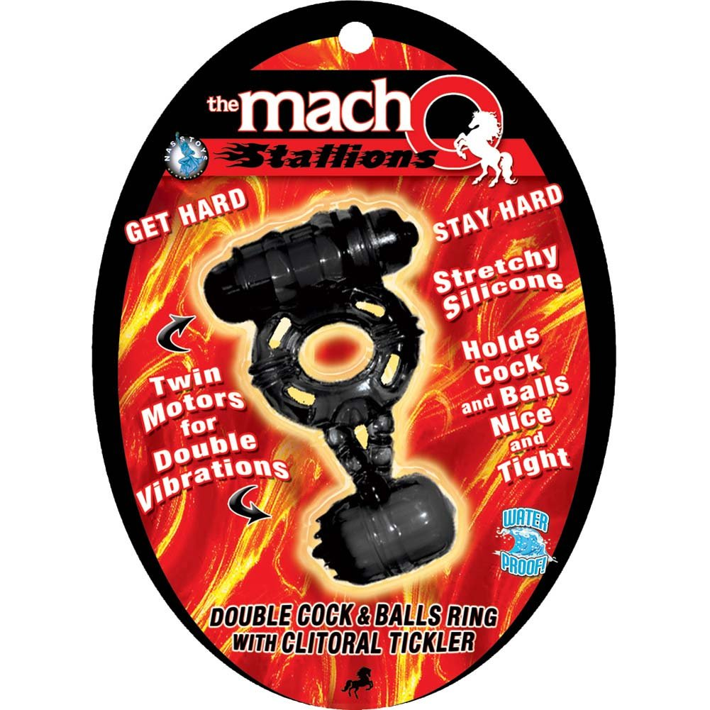 Macho Stallions Double Cock and Balls Vibrating Ring with Clitoral Tickler Black - View #1