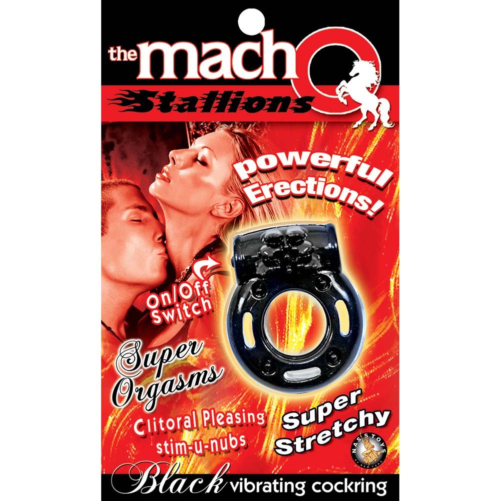 Macho Stallions Vibrating Cockring Black - View #1