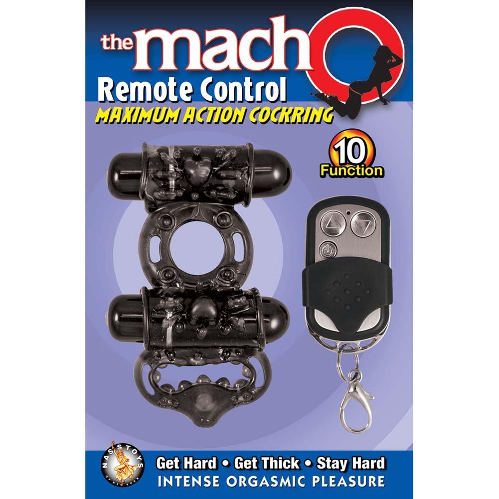 Macho Remote Control Maximum Action Dual Stimulating Cockring Black - View #3