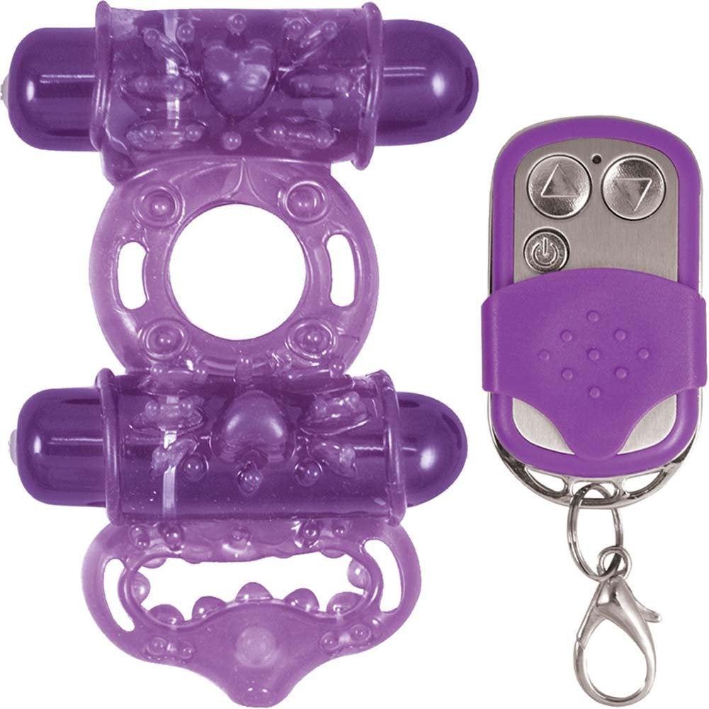 Macho Remote Control Maximum Action Dual Stimulating Cockring Purple - View #2