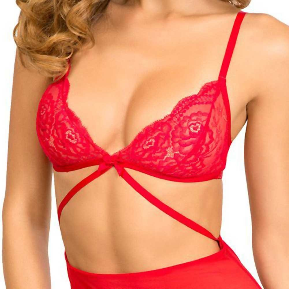 Rene Rofe Lace Top Garter Chemise with G-String Medium/Large Red - View #3