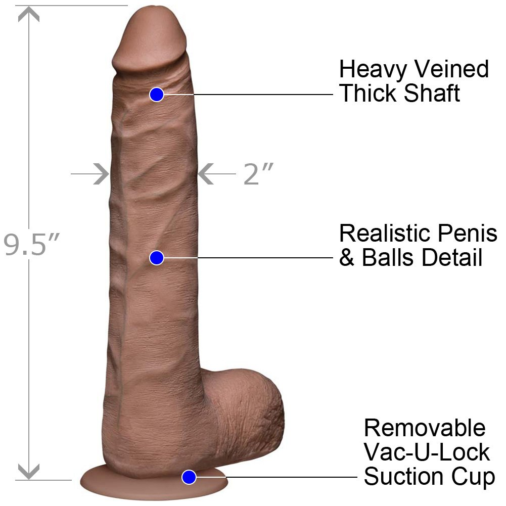 Vac-U-Lock Realistic Cock UltraSKYN with Balls Slim 9 Iinch Brown - View #1