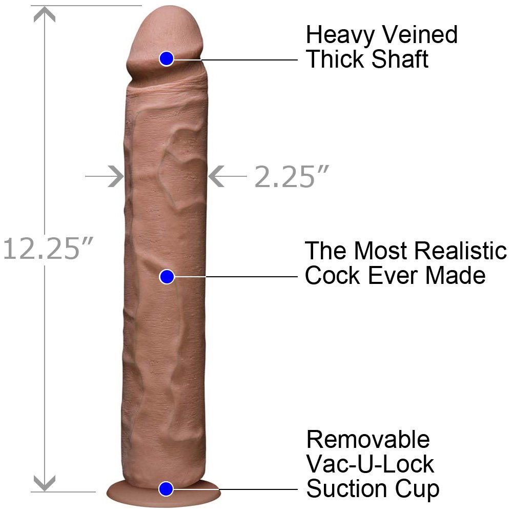 Vac-U-Lock Realistic Cock UR3 12 Iinch Brown - View #1