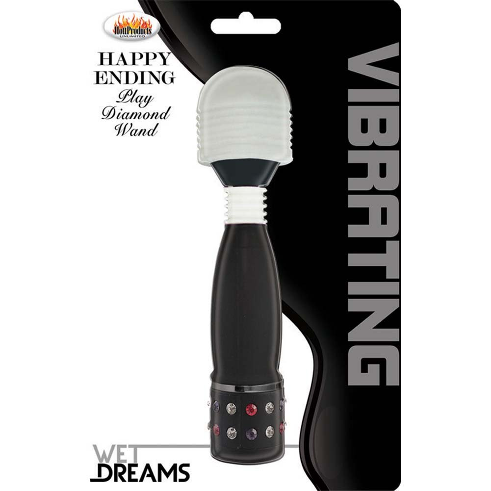 Wet Dreams Happy Ending Vibrating Play Diamond Wand Black - View #1