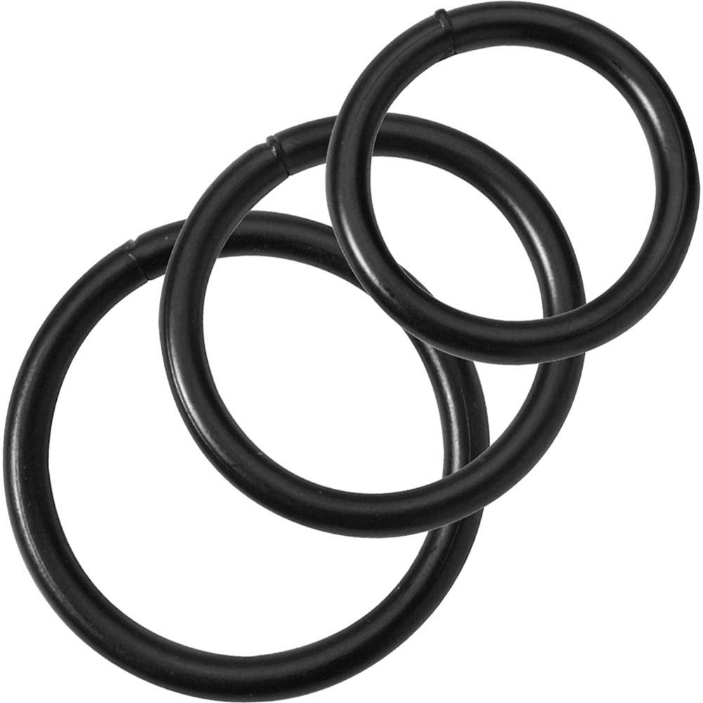 Spartacus Black Steel Cock Rings 3 Piece Set - View #2