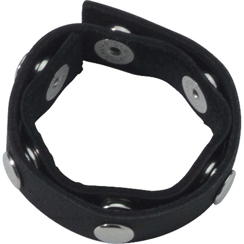 Spartacus Six Speed Leather Cock Ring with Six Snaps Black - View #2