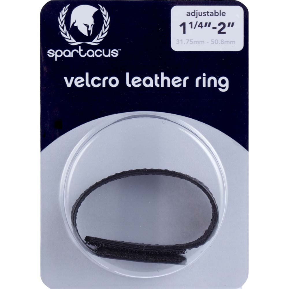 Spartacus Sewn Garment Leather Velcro Cock Ring Black - View #1
