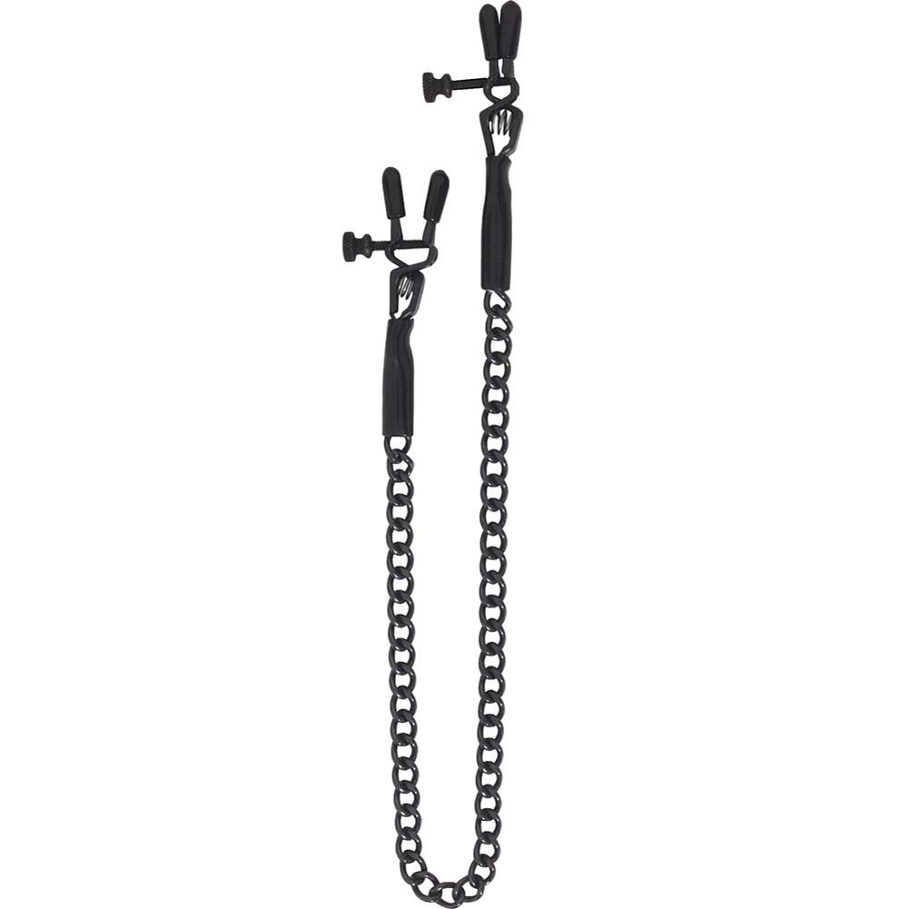 Spartacus Blackline Adjustable Spring Jaw Nipple Clamps with Link Chain Black - View #2