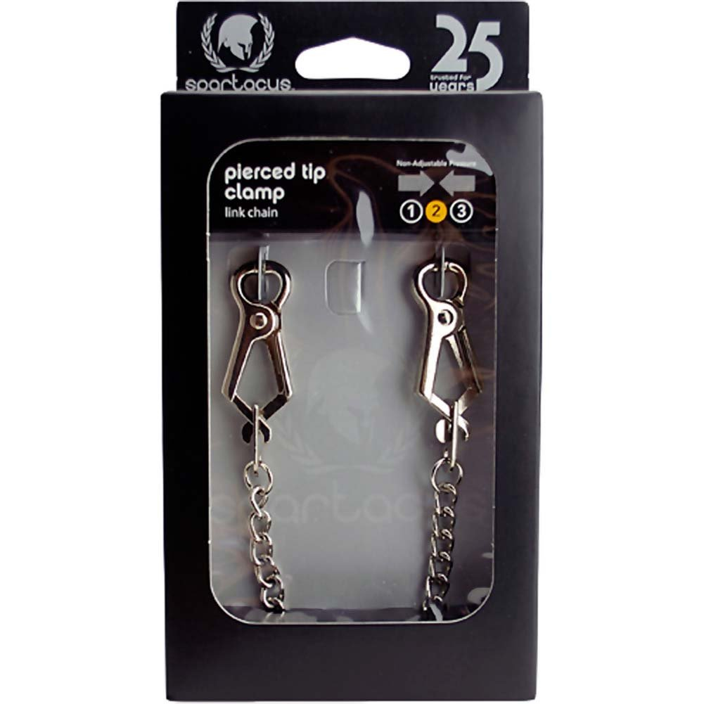 Spartacus Endurance Pierced Nipple Clamps with Link Chain Silver - View #3