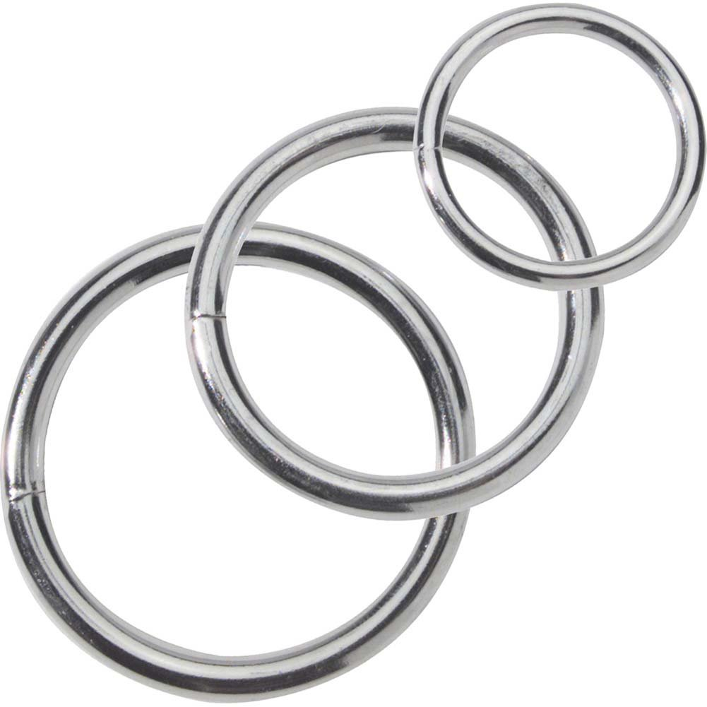 Spartacus Metal Cock Rings 3 Piece Set Silver - View #2