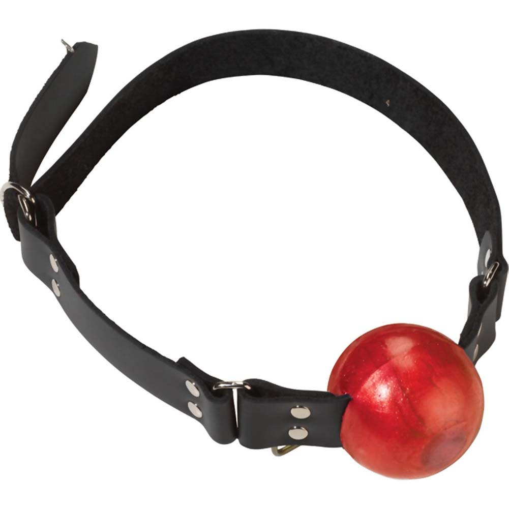 Spartacus Large Red Ball Gag with D-Ring and Black Strap - View #3