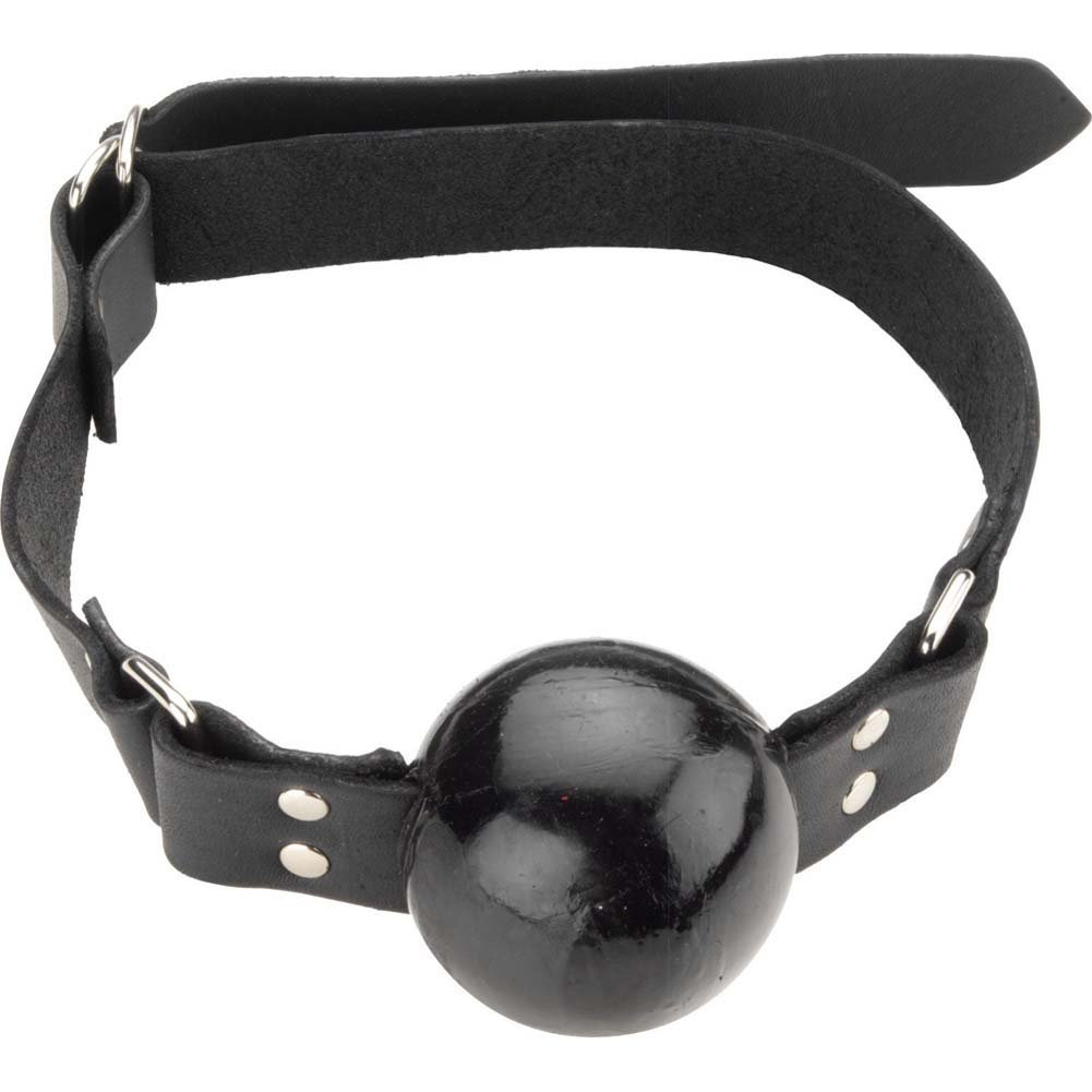 Spartacus Large Black Ball Gag with D-Ring and Black Strap - View #2