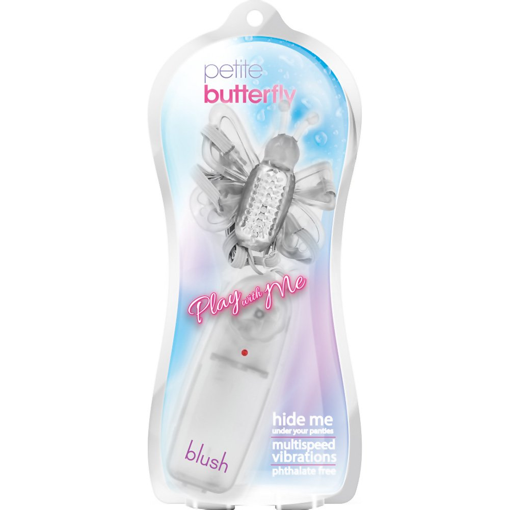 "Blush Play with Me Petite Butterfly Strap-On Vibrator 2.5"" Clear - View #1"