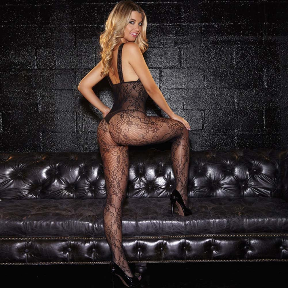 Hustler Crotchless Show Me Bodystocking One Size Black - View #2