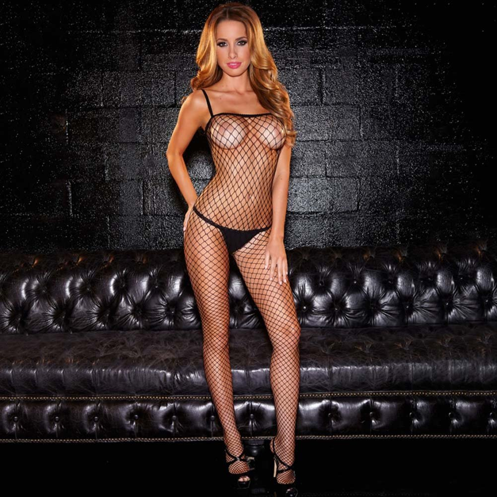 Hustler Crotchless Fencenet Bodystocking One Size Black - View #1