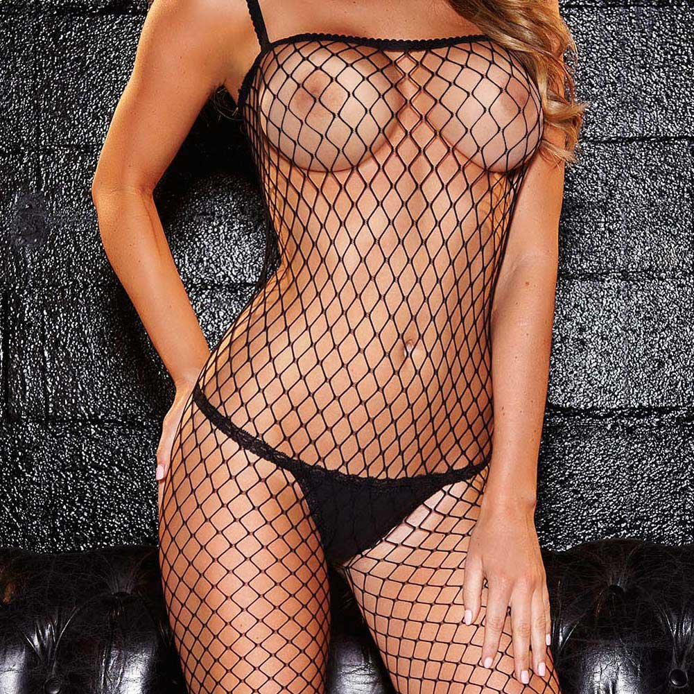 Hustler Crotchless Fencenet Bodystocking One Size Black - View #3