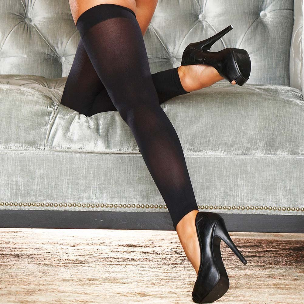 Hustler Footless Sheer Thigh High One Size Black - View #3
