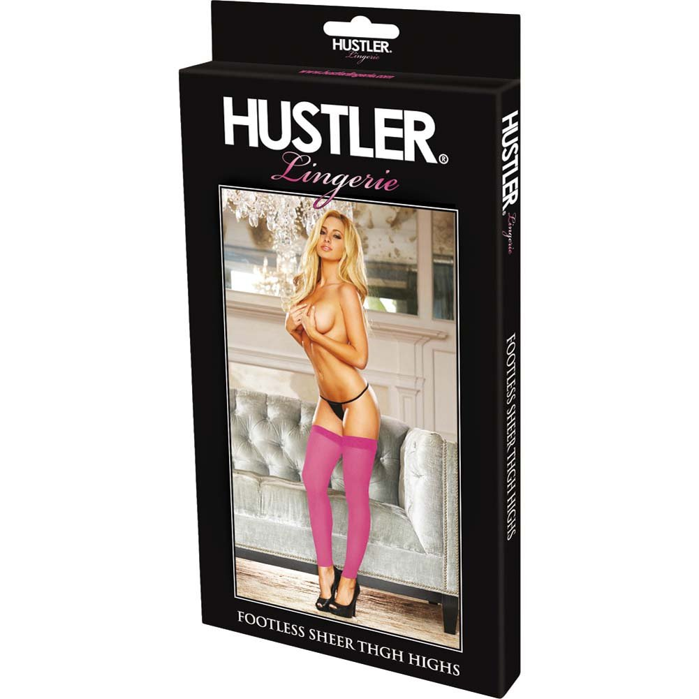 Hustler Footless Sheer Thigh High One Size Pink - View #4