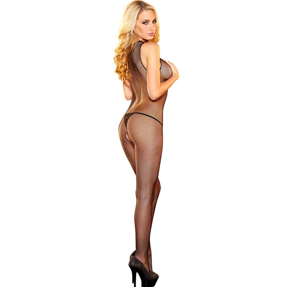 Hustler Crotchless Halter Neck Bodystocking One Size Black - View #1