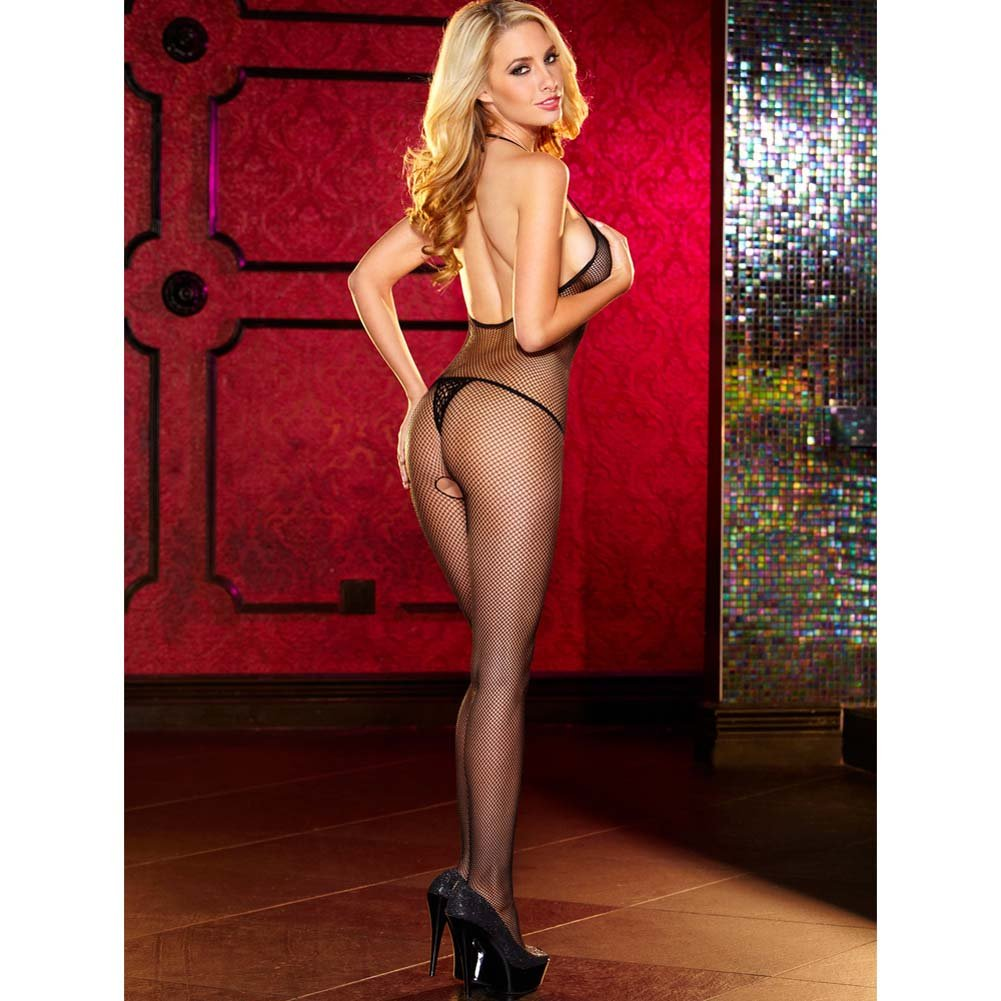 Hustler Crotchless Fishnet Bodystocking One Size Black - View #2