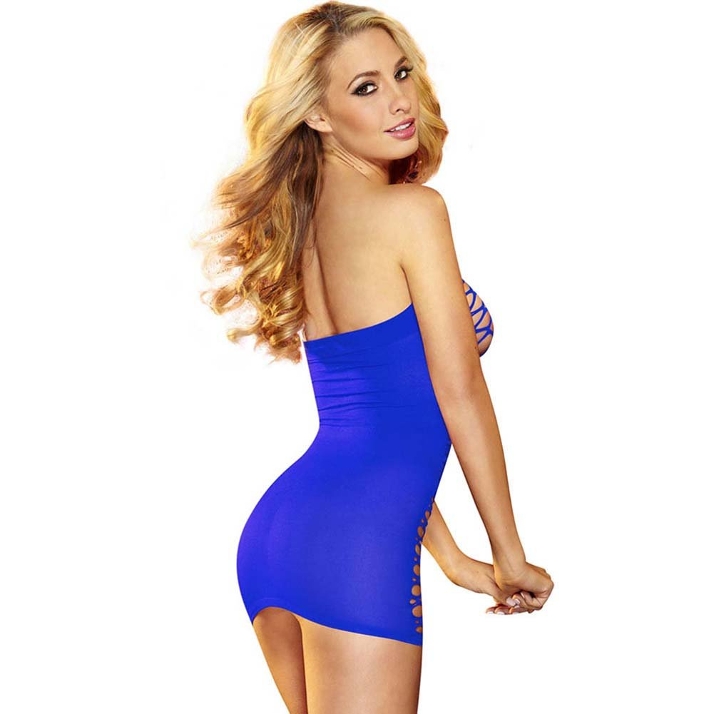 Hustler Fencenet Micro Mini Dress One Size Blue - View #2