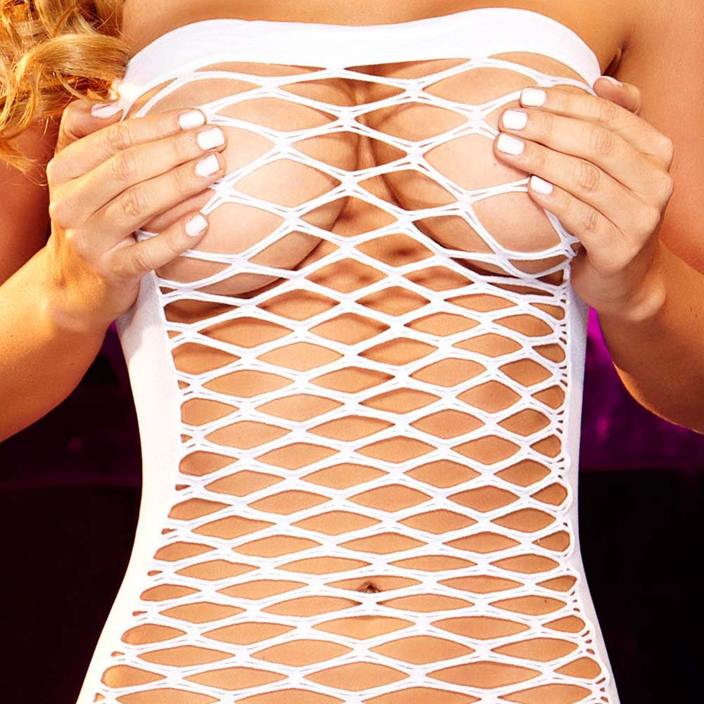 Hustler Fencenet Micro Mini Dress One Size White - View #3