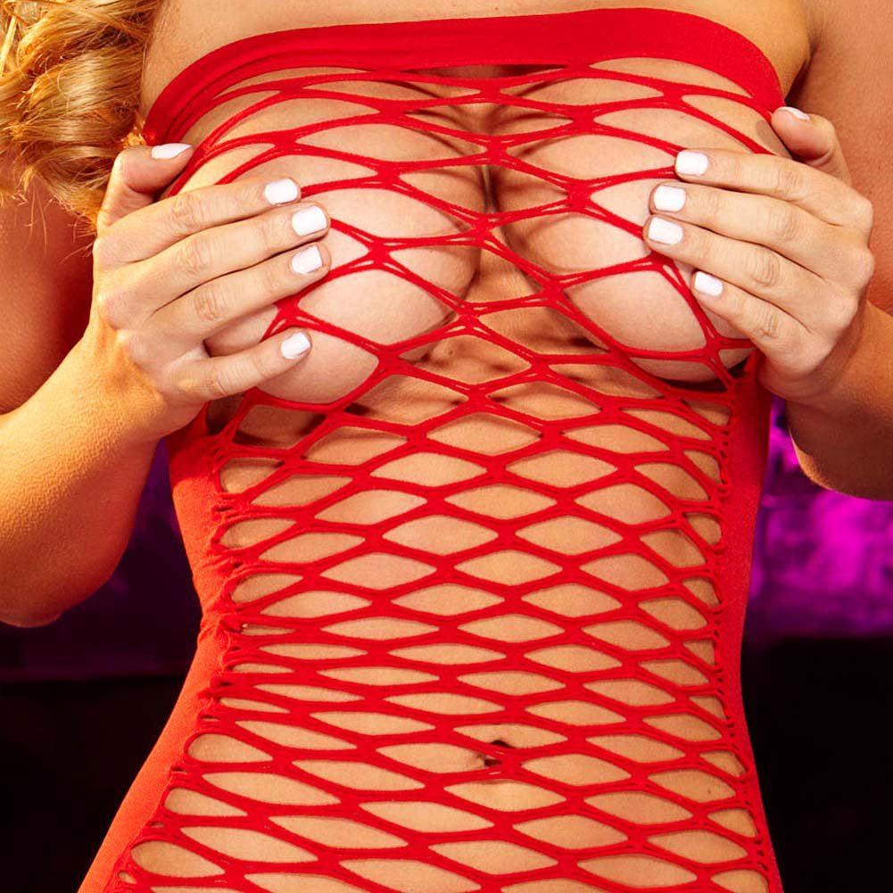 Hustler Fencenet Micro Mini Dress One Size Red - View #3