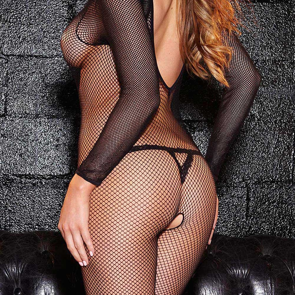 Hustler Long Sleeves Crotchless Fshnet Bodystocking Black - View #3