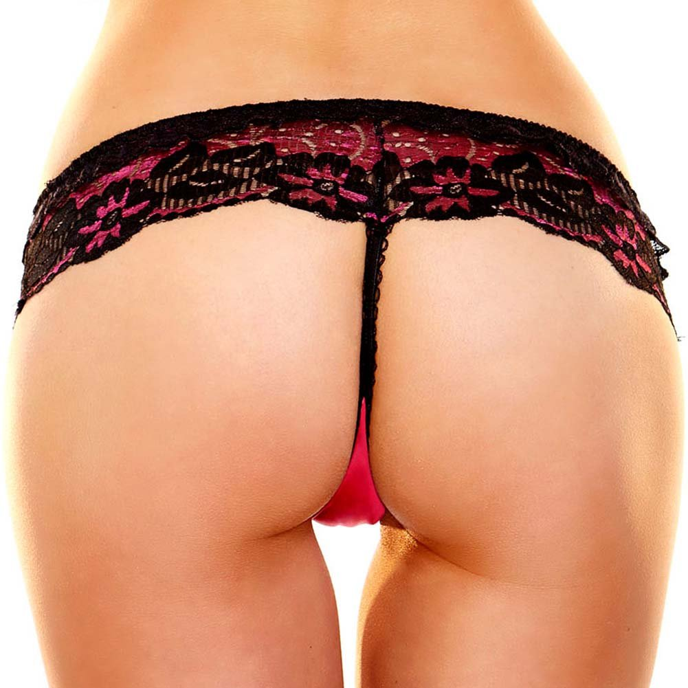 Hustler Lace G-String Medium/Large Red Black - View #2