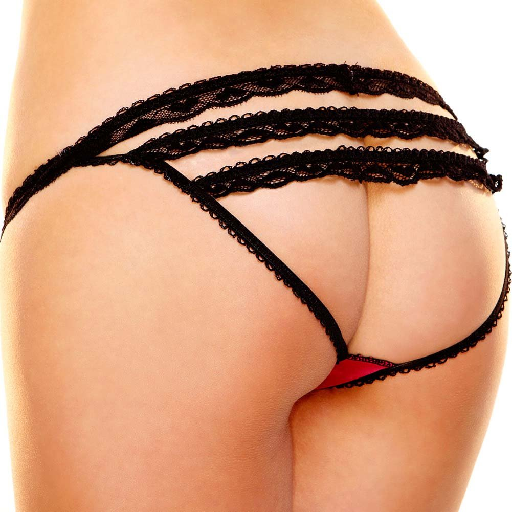 Hustler Rear View Panty Small/Medium Red and Black - View #1