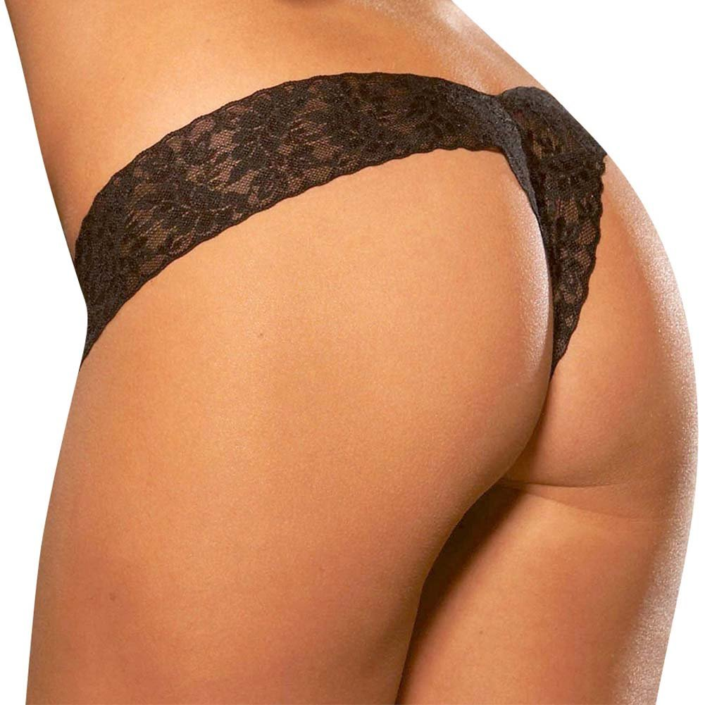 Hustler Crotchless Lace Thong Medium/Large Black - View #2