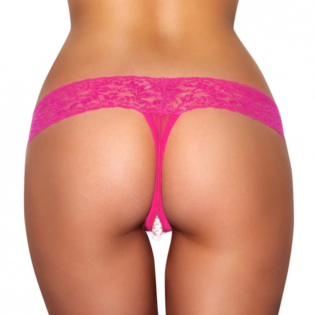 Hustler Crotchless Stimulating Thong with Pearl Pleasure Beads Medium/Large Pink - View #2