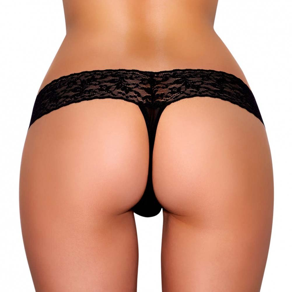 Hustler Vibrating Lace Thong with Bullet Medium/Large Black - View #2