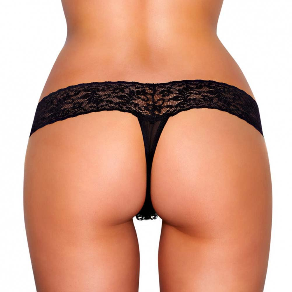 Hustler Vibrating Lace Thong with Beads Medium/Large Black - View #2