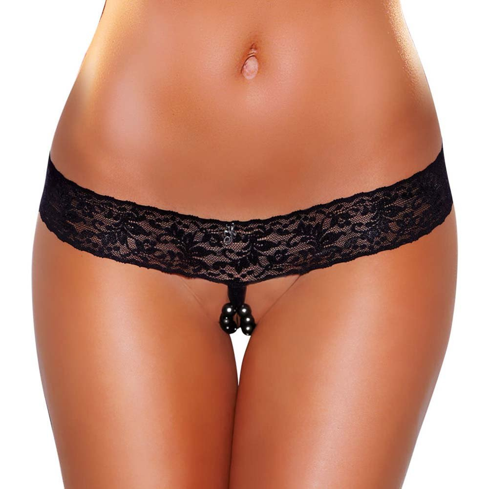 Hustler Lace Thong with Black Stimulating Beads Small/Medium Black - View #1